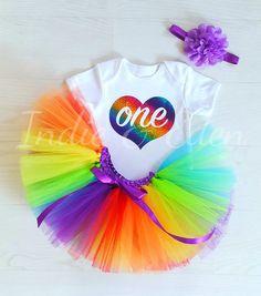 71322417646ec Birthday tutu Baby rainbow 1st headband babysuit birthday glitter  personalised one set photo prop cake smash