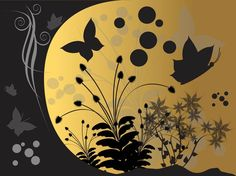 Background With Butterflies And Flowers vector free