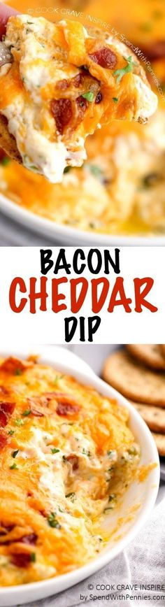 Hot Bacon Cheddar Dip – Spend With Pennies Hot Bacon Cheddar dip is hot, cheesy and loaded with flavor! The perfect party dip for crackers or chips! Yummy Appetizers, Appetizers For Party, Appetizer Recipes, Dip Recipes For Parties, Easy Party Dips, Appetizer Dips, Fingers Food, Football Food, Love Food