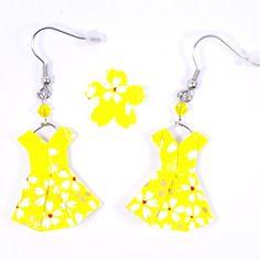 Boucles d'oreilles robes origami jaunes avec des petites fleurs blanches - crochets inox: Amazon.fr: Handmade