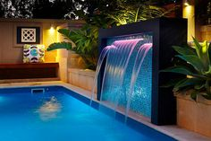 Pool How To Choose a Storage Shed Article Body: If you own a house, at some po Swimming Pool Waterfall, Swimming Pool Landscaping, Luxury Swimming Pools, Small Backyard Pools, Luxury Pools, Backyard Patio Designs, Small Pools, Swimming Pool Designs, Pool Landscape Design
