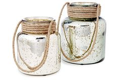 One Kings Lane - The Collected Coffee Table - Bretton Jars w/ Jute Handles, Asst. of 2
