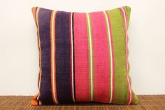 Colorful kilim pillow cover 16 x 16 Striped by kilimwarehouse, $41.00