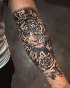 Forarm Tattoos, Cool Tattoos, Tatoos, Broken Clock Tattoo, Tattoo Toronto, Best Tattoo Shops, Piercing Studio, Realism Tattoo, Tiger Tattoo