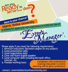 Send your CV to careers@islamiconlineuniversity.com Good Presentation, Announcement, Career, University, Management, How To Apply, Organization, Education, Getting Organized