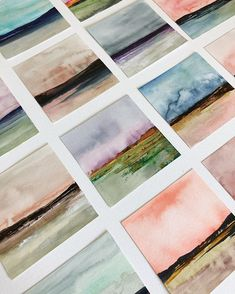 """The Horizon Shine Series """"Nature always wears the colors of the spirit."""" ~ Ralph Waldo Emerson 🖤 I just laid out a grid of the mini landscapes and they look so…<br> Abstract Watercolor Art, Abstract Landscape, Watercolor Artists, Abstract Oil, Abstract Paintings, Oil Paintings, Simple Watercolor, Watercolor Water, Watercolor Landscape Paintings"""