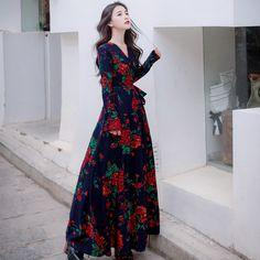 43afb195480 Aliexpress.com   2018 Spring Fall Elegant Korea Ladies Clothing Women  Vintage V Neck Floral