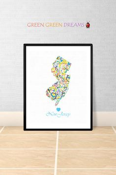 New Jersey Map Print Poster Wall art New Jersey US State Maps New Jersey NJ printable download Home Decor Digital gift GreenGreenDreams