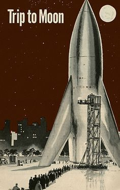 Trip to Moon - Rocket Ship / Retro Future / Space Ship