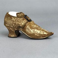 English silk brocade shoe 1730s