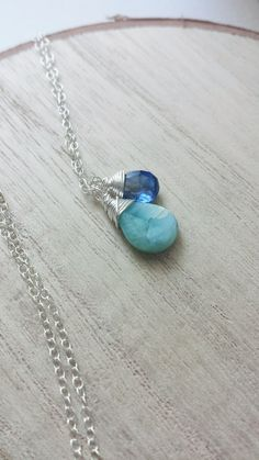Larimar Necklace, Sterling Silver Larimar Necklace, Kyanite Necklace, Minimalist Jewelry, Small Necklace