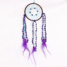 Children Room Decorations Pendant Dream Catcher Wind Chime Handcrafts Dream catcher with Purple Floral Feather