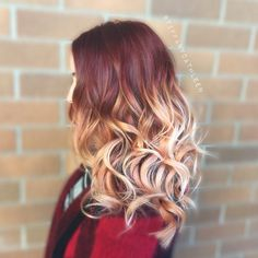 Burgundy into rose gold balayage ombré. I love this hair color!!!