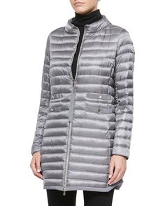 Aubry Long Mock-Neck Puffer Jacket, Light Gray by Moncler at Neiman Marcus.