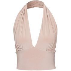 Nly One Crop Halter Neck Top ($28) ❤ liked on Polyvore featuring tops, shirts, crop tops, tank tops, nude, womens-fashion, crop top, tall shirts, halter crop top and pink halter top