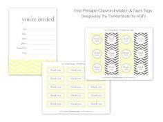 free printable chevron invitation and thank you tags