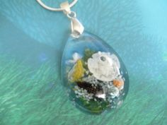 Walk On The Beach-Glass Teardrop Pendant-Ltd by giftforallseasons