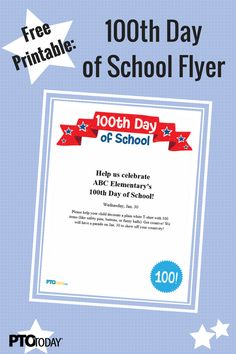 Free Printable: Get the word out about day festivities at your school! 100 Days Of School, Word Out, 100th Day, Free Printables, The 100, Activities, Dog, Words, Diy Dog