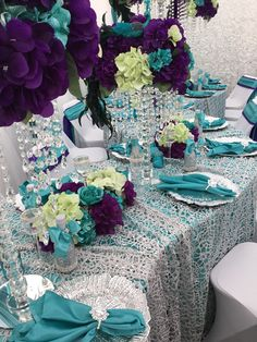 Turquoise, Purple, Silver, Green Peacock Table Setting Diamant du Parris Inc. Peacock Wedding Decorations, Peacock Wedding Cake, Wedding Cakes, Purple Table Settings, Wedding Table Settings, Turquoise And Purple, Green Peacock, Wedding Colors, Wedding Flowers