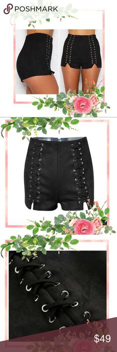 These shorts are pretty amazing! ★ Umm...Love! :)  Super Cute and Soft Laced Up High Waist Suede Shorts   Size Medium Soft, Cute, Perfect Stretch Suede Leather High Waist Zipper Closure  Measurements - Medium Waist - 69 cm Hip - 94 cm Length - 33 cm Shorts
