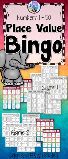 This Bingo game provides a great way to review and practice place value to 50 using MABs and expanded notation. There are two games in the package each with a choice of B&W or color. Eight Bingo cards in each game make a perfect activity to add to Math centers or small group work.