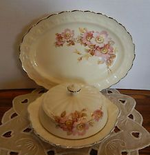 """Taylor Smith Taylor Covered Butter dish & small 11"""" Platter w/pink briar roses."""