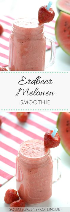 Sommerliches Erdbeer-Melonen-Smoothie Rezept zum Nachmachen - einfach lecker gesund vegan sojafrei weizenfrei glutenfrei - Strawberry Melon Smoothie - Squats, Greens & Proteins