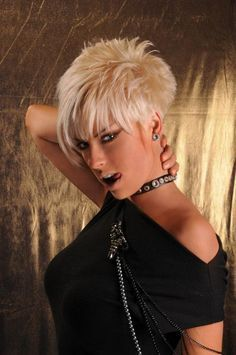 Cool Short hair styles — Blonde crop w tight tapered nape. Funky Short Hair, Cute Hairstyles For Short Hair, Short Hair Cuts For Women, Pixie Hairstyles, Short Hair Styles, Short Cuts, Short Haircuts, Short Rocker Hair, Sassy Haircuts