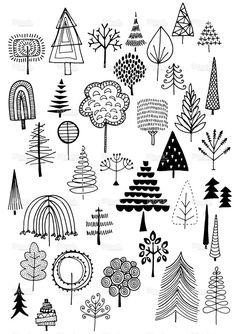 Doodle trees vector illustration-----------------커핀그루나루 공모전 디자인 참고 이미지