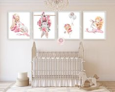 4 ballerina bunny rabbit baby girl nursery wall art print et Nursery Layout, Baby Girl Nursery Decor, Nursery Wall Art, Nursery Rugs, Nursery Ideas, Bedroom Ideas, Bunny Nursery, Yellow Nursery, Ballerina Nursery