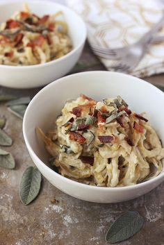 "Sweet Potato Noodles with Sage ""Cream"" Sauce // Tasty Yummies  Light and comforting. Gluten-free and dairy-free with vegan options."