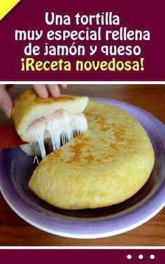 Una tortilla muy especial rellena de jamón y queso. ¡Receta novedosa! #tortilla #jamon #queso #receta