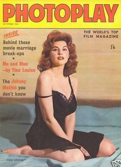 """Tina Louise on the cover of """"Photoplay"""" magazine, United Kingdom, September Classic Actresses, Actors & Actresses, Ginger Grant, Tina Louise, Johnny Mathis, Tv, Top Film, Movie Magazine, Old Hollywood Stars"""