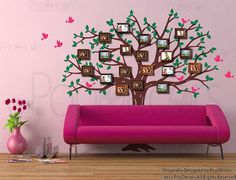 Family Photo Tree -  Free Squeegee and Color Change - Living Room Tree Wall Decal Family Decal Photo Frame Decal Tree Vinyl Walls Tree Arts