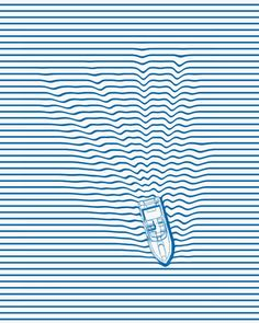 WAKE depicts a boat traveling through a striped shirt. Available for purchase at Threadless.com