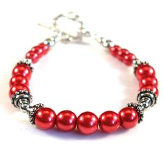 Women's Red Pearl with Silver Beaded Bracelet by DungleBees on Etsy
