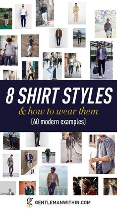 This articles features 8 every day shirt styles for men — 60 modern ways to wear each shirt type — how they should fit, and where you can buy them. Mens Business Casual Shoes, Men Casual, Casual Outfits, Suit Fit Guide, Fashion Essentials, Style Essentials, Mens Fall, Men's Grooming, Stylish Men