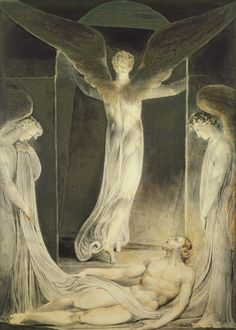 "William Blake ""The Resurrection: The Angels rolling away the Stone from the Sepulchre"""