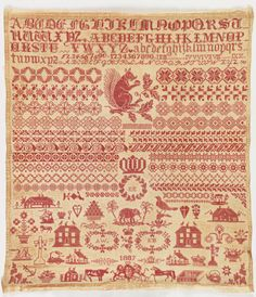 Sampler ( England ), 19th century cotton embroidery on cotton foundation. Source: cooperhewitt.org