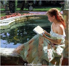 """""""Reading in the Park"""" (2008) by Vladmir Volegov.  I am never alone when I am reading."""