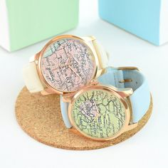 Map Rose Gold Watch Personalised - Personalised Gold Wrist Watch - Men's Watch - Women's Watches - Statement Watch - Gift for Him [MPWRG]
