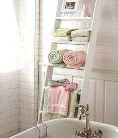Towel rack:  You can simply hang the towels on a ladder and place in the small sized bathroom, where there is a major concern for space availability