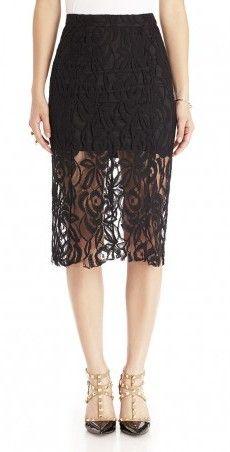 Black Lace Skirt & Studded Heels