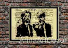 Pulp Fiction Poster/Jules Winnfield Print/Vincent Vega Portrait/Samuel L. Jackson/John Travolta/Book Page/Dictionary Page Print/Quote Poster Quote Posters, Quote Prints, Wall Prints, Book Page Art, Book Pages, As You Like, Just In Case, Frame Download, John Travolta