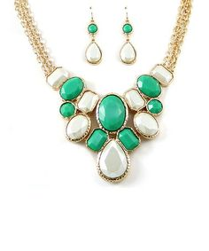 Look at this #zulilyfind! Gold & Green Framed Bead Bib Necklace & Earrings Set by MOA Collection #zulilyfinds