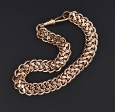 Edwardian Watch Chain Rolled Rose Gold Bracelet #Edwardian #Gold #Watch #Rose #Rolled #Chain #Bracelet #Crystal #Dot #White