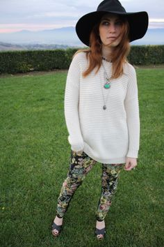 Outfit of the Day Oversized sweater with faux leather/floral pants, floppy hat, vintage jewelry
