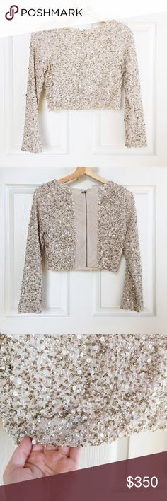 Alice + Olivia Sequin Crop Top Darling cream sequin crop top from Alice + Olivia. Features stretchy material and beautiful silver and white sparkly sequins + beading details. NWT, perfect condition. Perfect for a night out! Alice + Olivia Tops Crop Tops