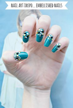 burkatron | UK fashion and nail art blog: nail art inspo: DIY embellished nails!