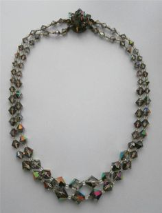 Vintage 1930 s Deco 2-String Facetted Grey Crystal Necklace Prom Evening Bridal